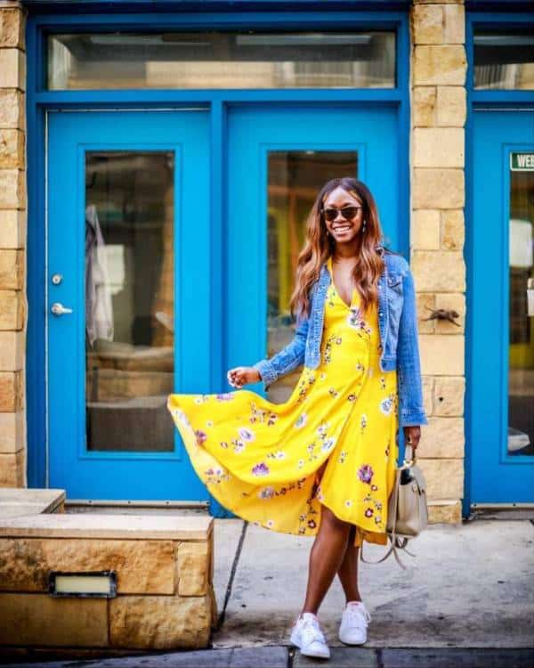 A bright yellow dress paired with a denim jacket  - 13 casually stunning outfits for the next date night out - TodayWeDate.com