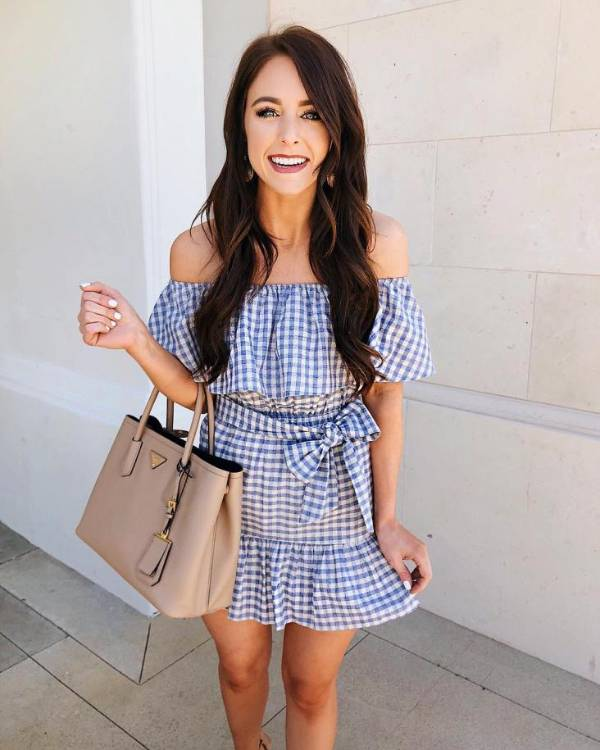 An off-shoulder plaid dress  - 13 casually stunning outfits for the next date night out - TodayWeDate.com