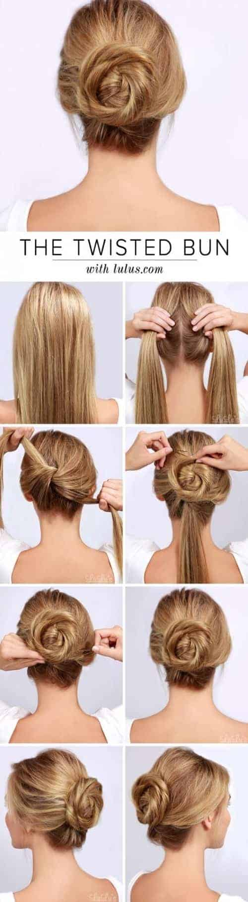 low twisted bun effortless long hairstyle for date ngiht