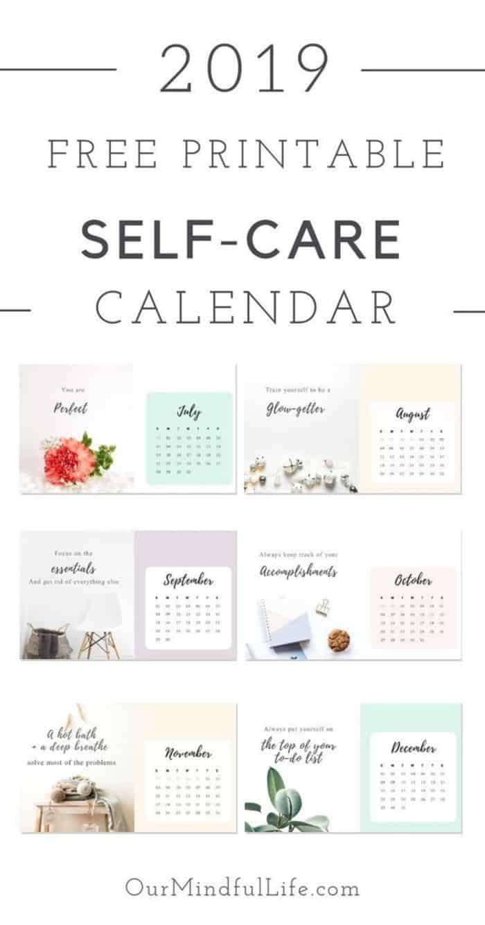A 2019 Free Printable Calendar With Self Care Quotes As Reminders 42 Thoughtful Gift Ideas For