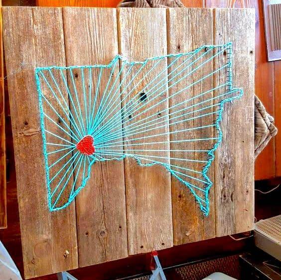 DIY state map string art - Todaywedate.com