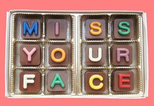 """Miss your face"" personalized message on chocolate - gift ideas for long distance boyfriend"