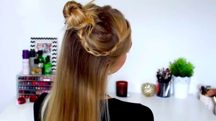 A-Half-up-half-down-top-knot-bun​-easy-summer-hairstyles-TodayWeDate.com-7