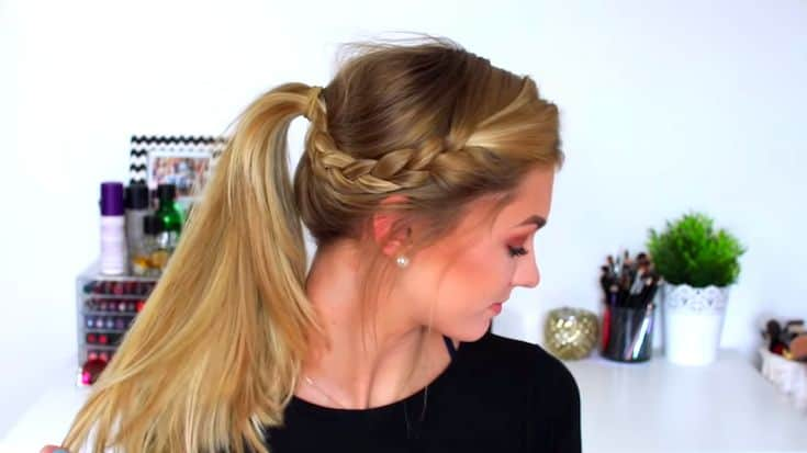 cute-and-easy-summer-hairstyle-for-long-hair-Ponytail-with-a-side-braid​-5