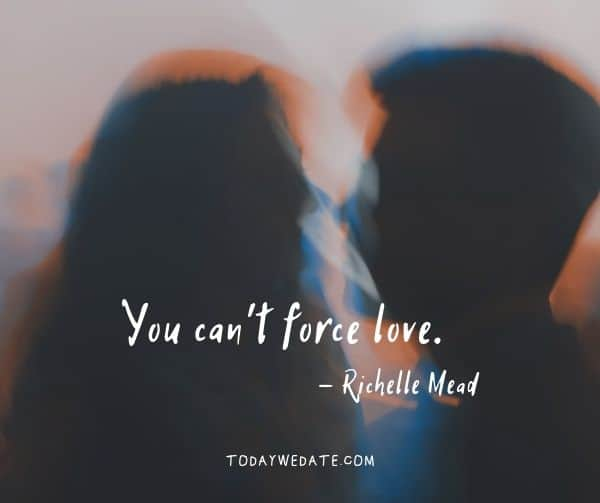 You can't force love. - Richelle Mead- heartfelt love quotes that capture what it's like to be in love - TodayWeDate.com