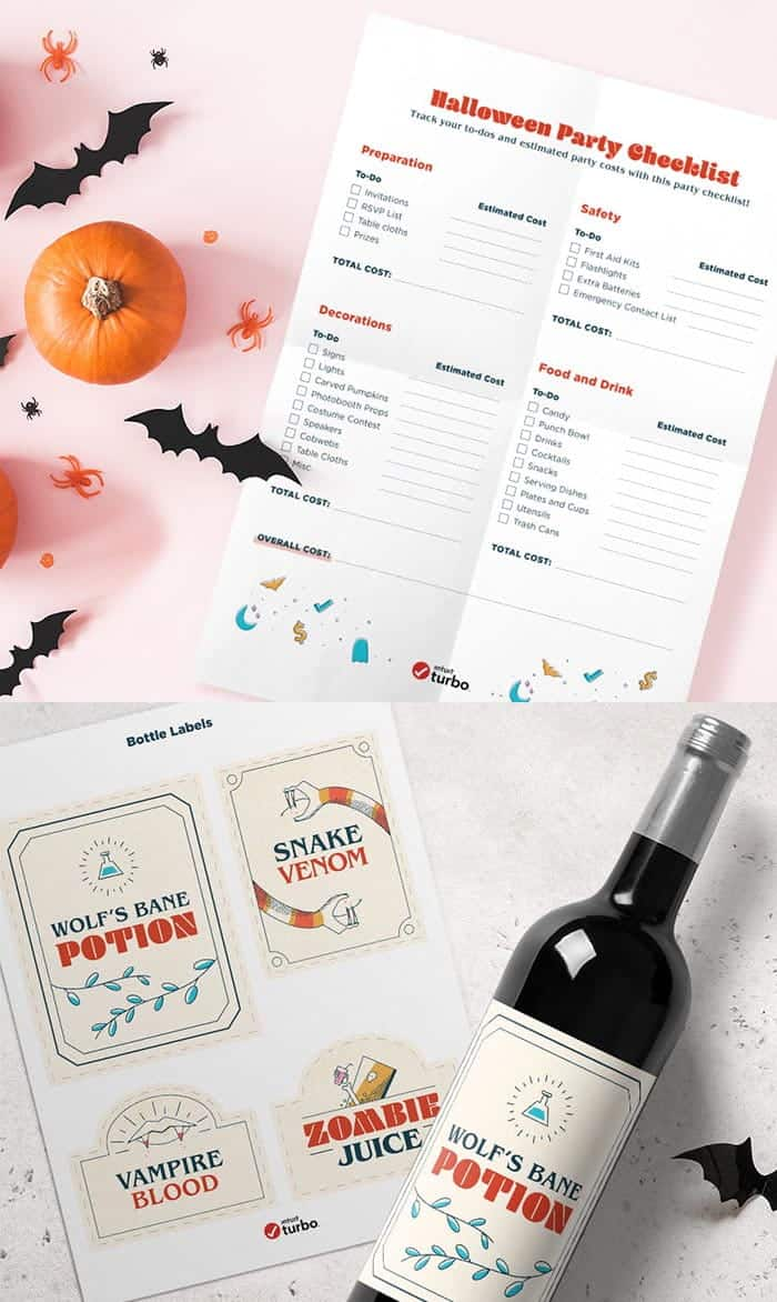 Halloween party checklist with printable bottle labels